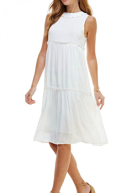 White Sleeveless Ruffle Dress