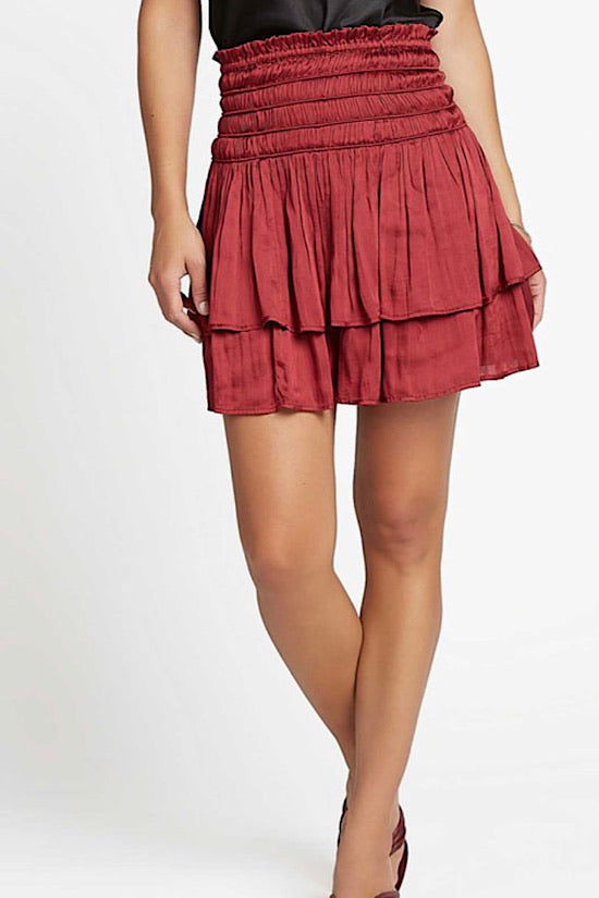 Wine Layered Skirt With Smocked Waist
