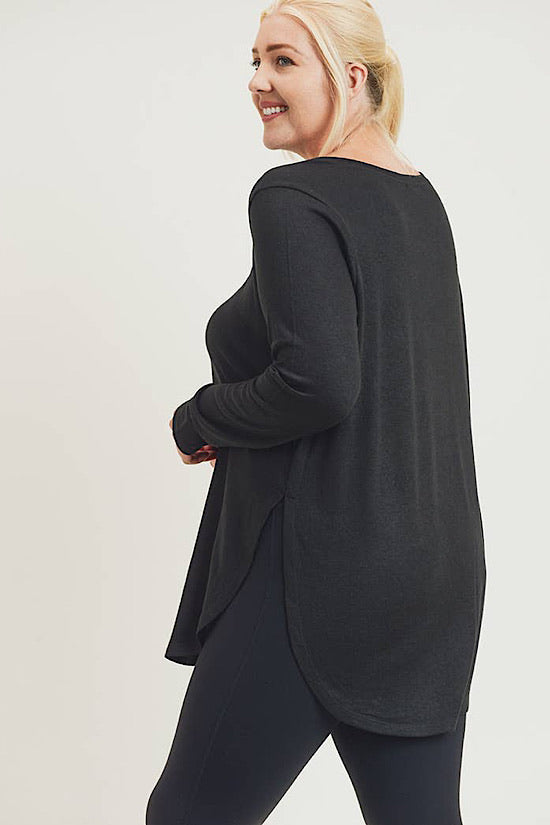 Black Long Sleeve Extended Flow Top with Side Slits