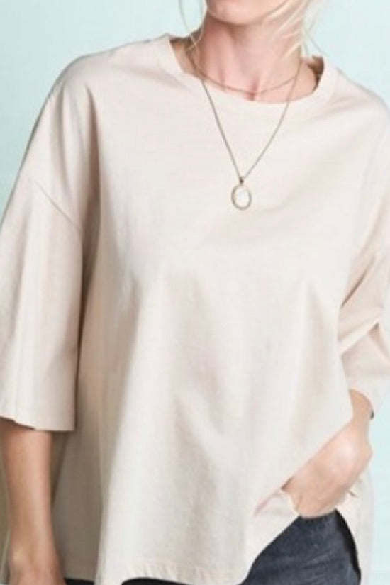 Taupe Short Bell Sleeve Top