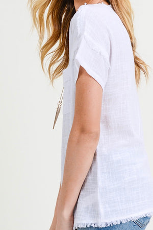 White Frayed Edge Top