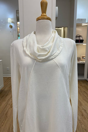 Ivory Cowl Neck Tunic with Diagonal Seams and Pockets