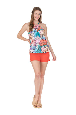 Multi Dot Front Twist Halter Top
