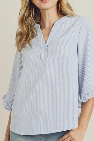 Blue and White Seersucker Ruffle Sleeve Top