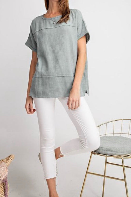 Blue Grey Gauze Top