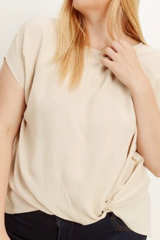 Taupe Twist Hem Top