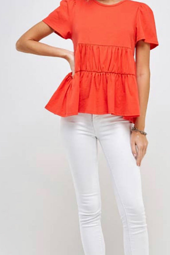 Coral Baby Doll Tee