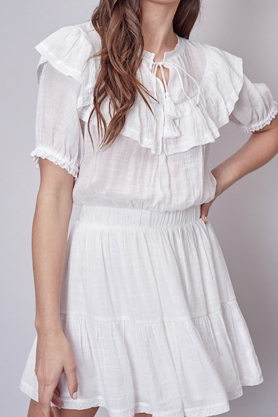 White Ruffle Detail Dress