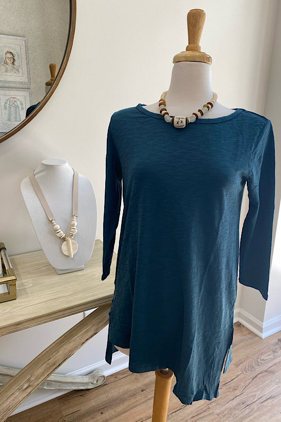 Teal 3/4 Sleeve Slanted Hem Tunic