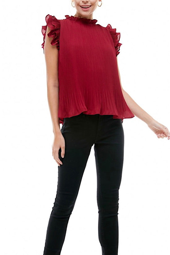 Burgundy Pleated Top
