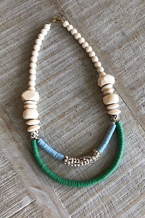 Triple Strand African Vinyl and Bone Necklace