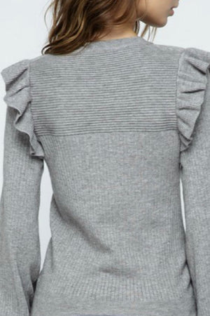 Heather Gray Ruffle Sleeve Sweater