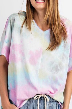 Pink Combo Tie Dye V Neck Top