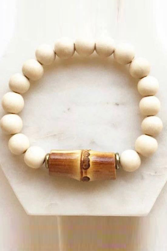 Cream Wood Bead with Bamboo Accents Bracelet