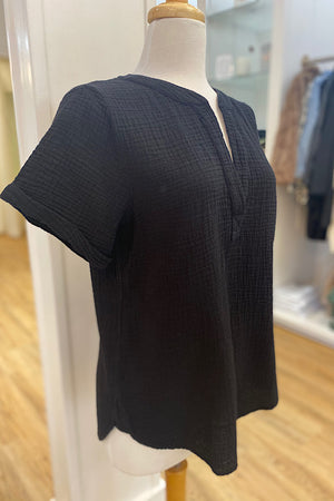 Black Gauze VNeck Top