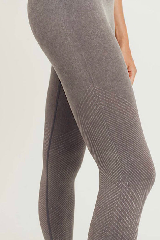Mocha Slanted Ribbing Seamless Mineral Washed Highwaist Leggings