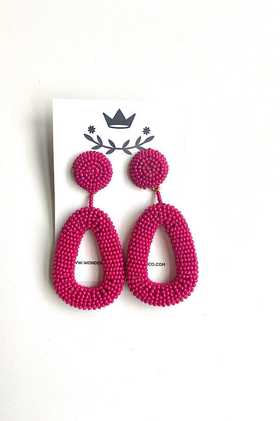 Hot Pink Beaded Earrings
