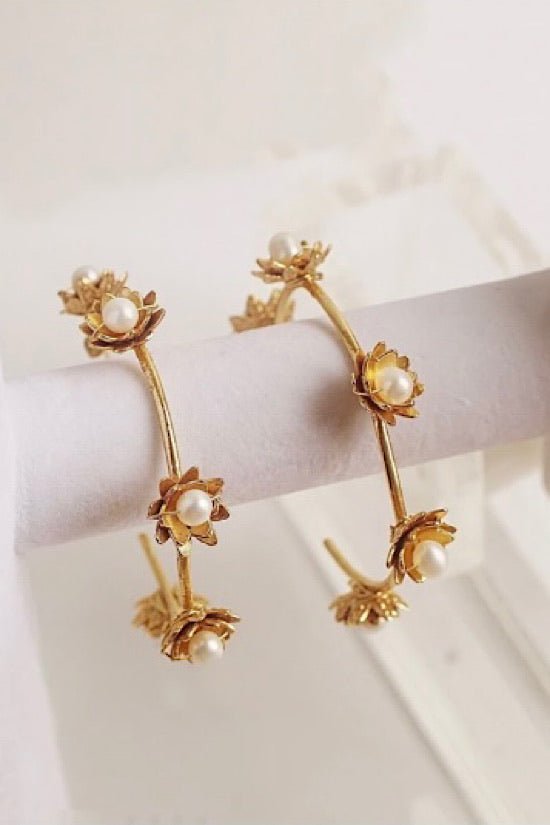 Vivian Drew Pearl Flower Gold Hoops