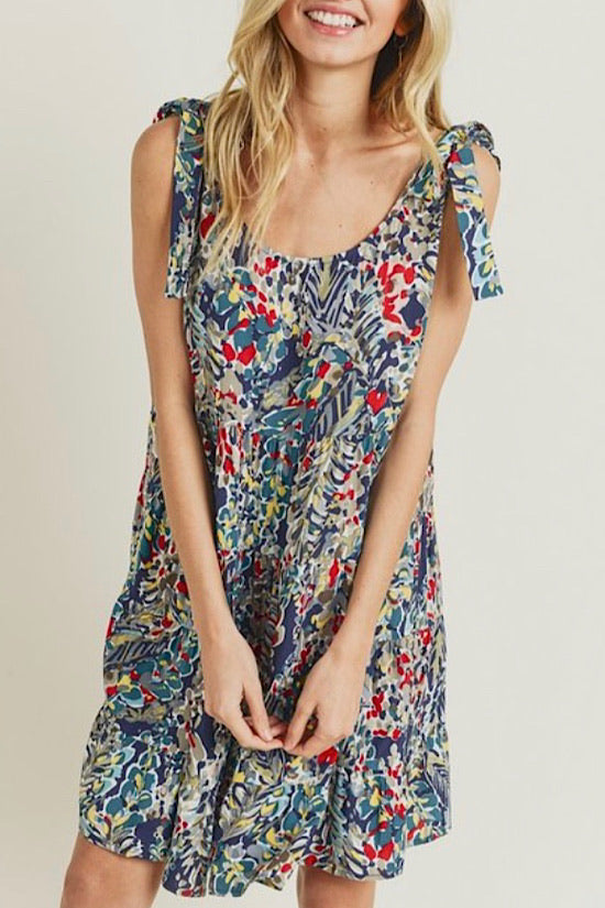 Navy Watercolor Print Dress