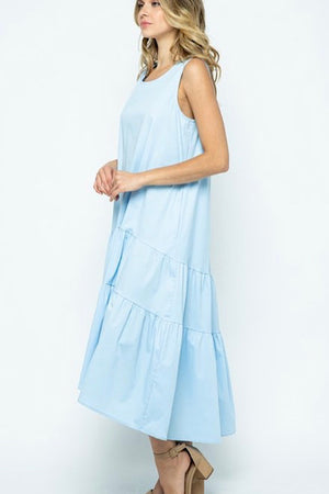 Light Blue Tiered Dress