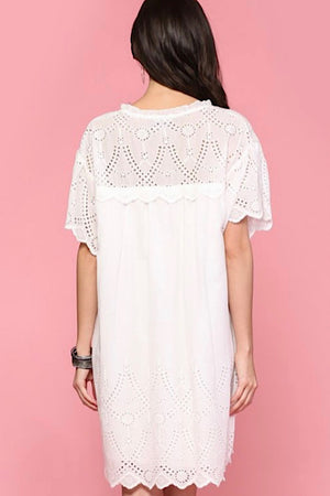 White Short Sleeve Scalloped Eyelet Dress