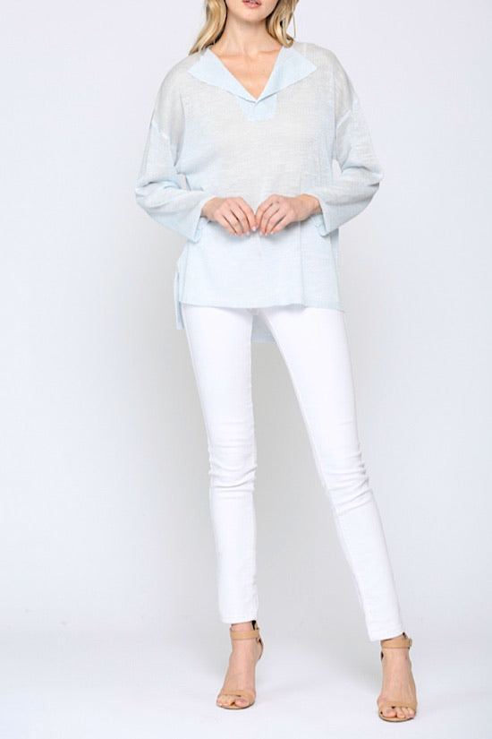 Sky Blue Fold Over Collar Lightweight Sweater