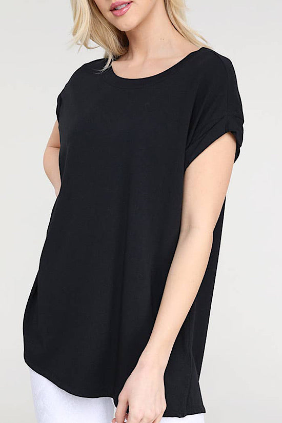 Cap Sleeve Black Athleisure Top