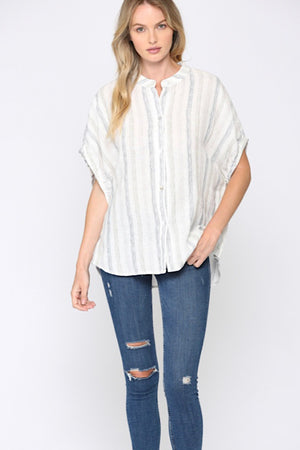 Navy and Off White Linen/Cotten Top