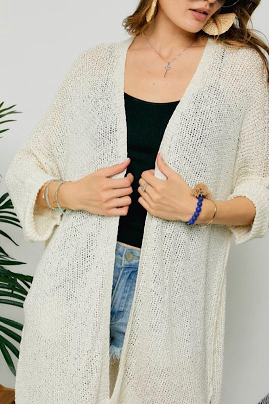 Cream Long Sweater Cardigan