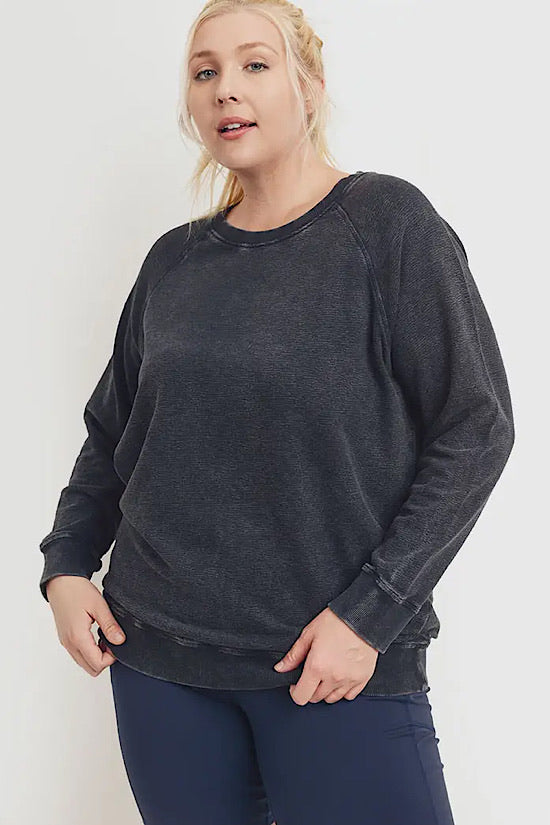 Black Essential Mineral Washed Raglan Terry Pullover