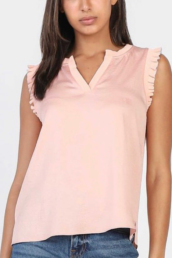 Dusty Pink Ruffle Sleeve with Metallic Trim Top