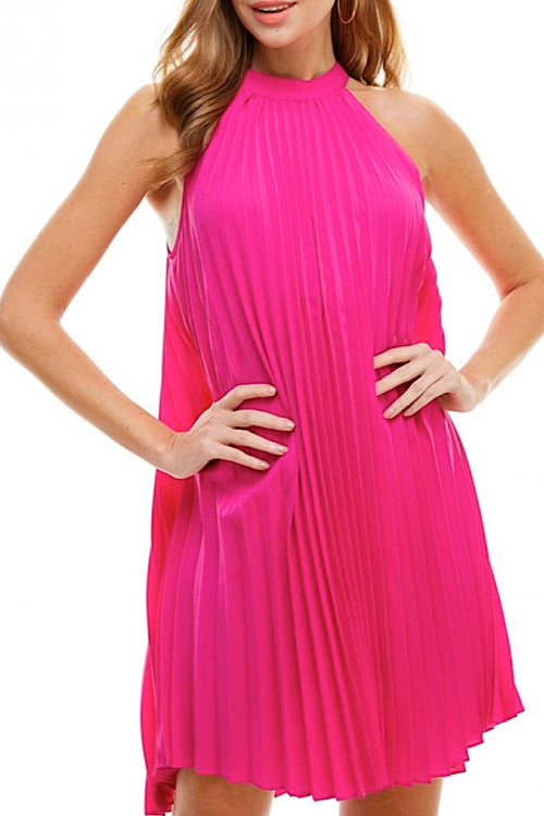 Magenta Pleated Trapeze Dress