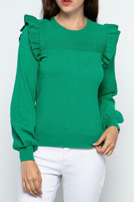 RESTOCKING! Green Ruffle Sweater