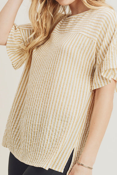 RUFFLE DOLMAN SLEEVE TOP WITH BUTTON BACK