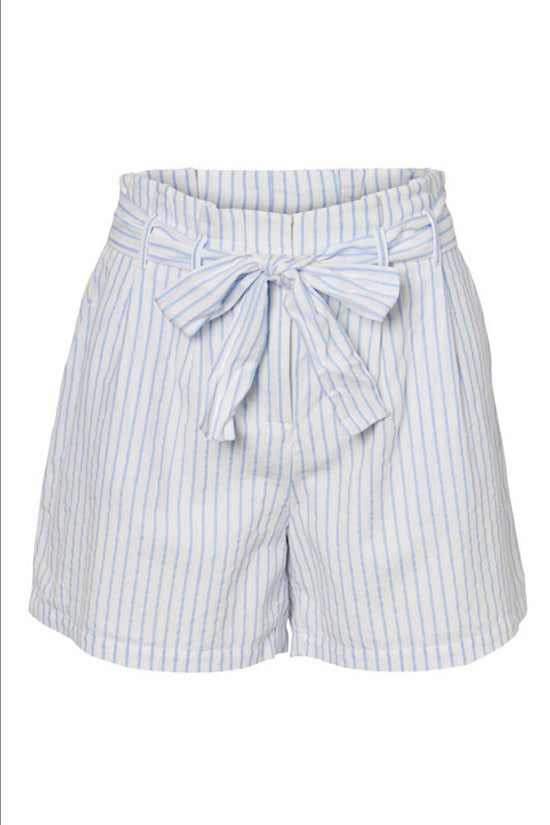 Blue Stripe Paper Bag Shorts