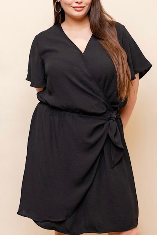 Black Short Sleeve V-Neck Wrap Dress