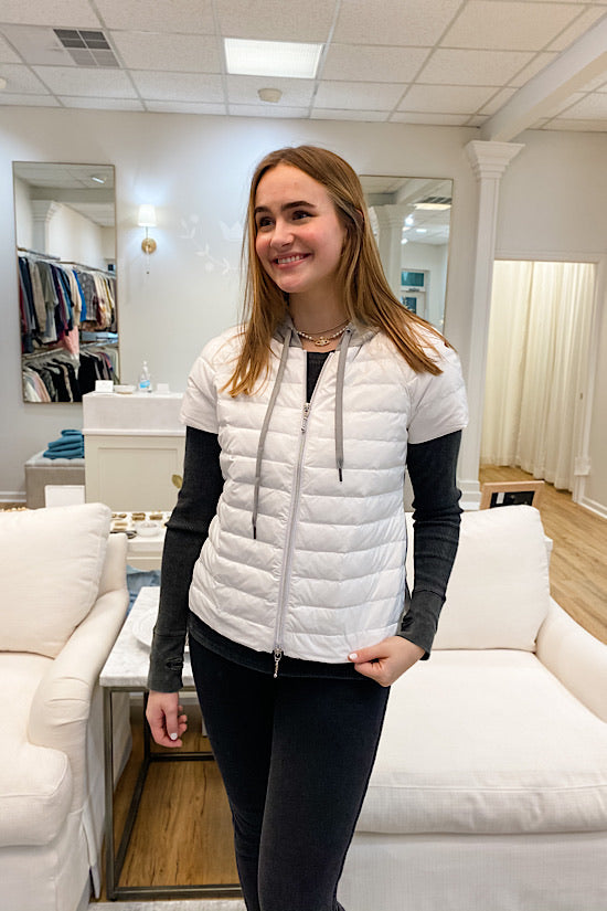 White and Gray Short Sleeve Puffer with Hoodie