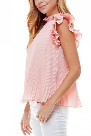 Pleated Ruffle Blouse