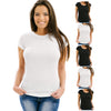Women's 5 Pack Black, White, or Assorted Soft Fabric Solid Crew-Neck T-Shirt from Emprella
