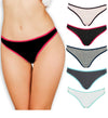 Emprella Cotton Underwear Women Thongs Assorted 5 Pack - No Show Panties, Seamless Sexy Breathable