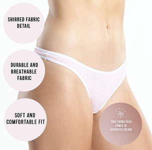 Emprella Cotton Underwear Women Thongs Assorted Pack - No Show Panties, Seamless Sexy Breathable