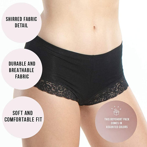6 Seamless Womens Boy Shorts Lace Panties Slip Shorts, Cotton Underwear For Women