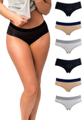 Emprella Women's 6-Pack Hipster Panties | Cotton Spandex with Elastic Waistband