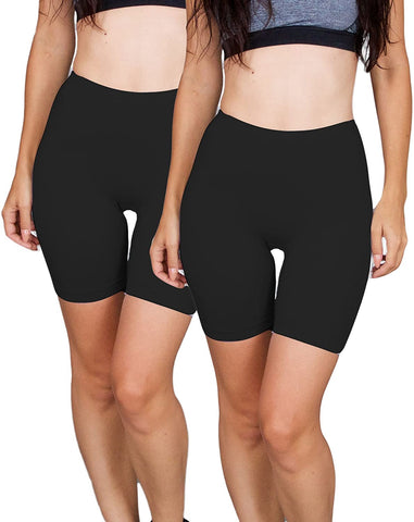 2-Pack Spandex Biker Short for Yoga Gym Biking or Slip Shorts
