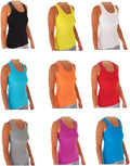 Ribbed Racerback Tank Tops Juniors Sizing Colorful 10-Pack S-XL