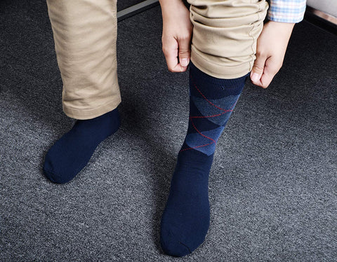 Dress Socks for Men- 5 Pack Mens Argyle Black or Solid Premium Cotton- Mid Calf