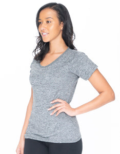 Gray Active Wear V-neck Tee - Emprella