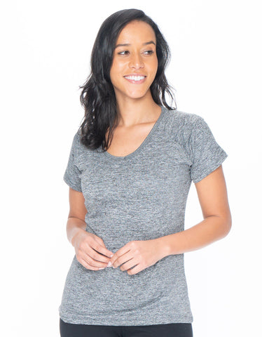 Image of Gray Active Wear V-neck Tee - Emprella