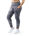High waist tummy control Dark Grey Print legging with 3 Pockets