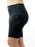 High Waist Black Yoga Running Compression Biker Shorts for Workouts Exercise with 3 Pockets